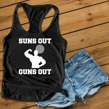Suns Out Guns Out Women's Ideal Racerback Tank