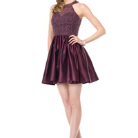 COLORS 1526 Beaded High Neck Homecoming Cocktail Dress