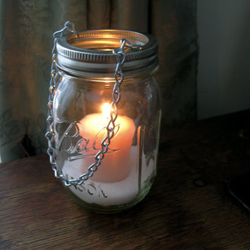Hanging Mason Jar Lantern,  DIY Tea Light lids- set of 12