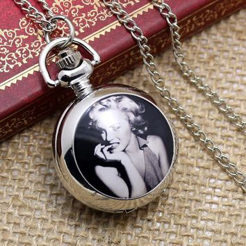 Free shipping hot sale wholesale ladies mens New Antique Mini Pocket Watch Marilyn Monroe Oomph Locket With Chain P597