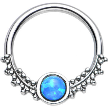 """14 Gauge 1/2"""" Synthetic Blue Opal Drops of Dew Captive Ring 