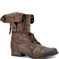 Steve Madden - Cablee - Brown Leather Foldover Combat Boot  at Footnotesonline Women's Designer Shoes