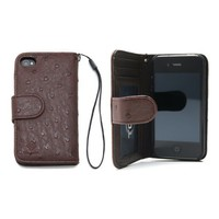 iPhone 4S Case, TORU® [Ostrich] iPhone 4S Wallet Case [Wristlet] [Brown] PU Leather Flip Cover Wallet Case - Verizon, AT&T, Sprint, T-Mobile, International, and Unlocked - Credit Card Case for iPhone 4 / iPhone 4S - Brown (114PCAOW-BR)