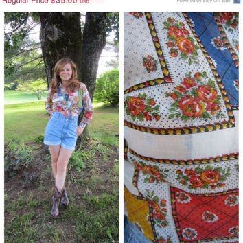 ON SALE Vintage Floral Patchwork Crop Top Boho Cowgirl Long Sleeve Blouse
