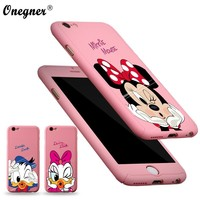 Full Body Protection For iphone 7 6s plus Mickey Donald Duck 360 front back cover for iPhone 6 5 5S SE Minnie mouse pink case