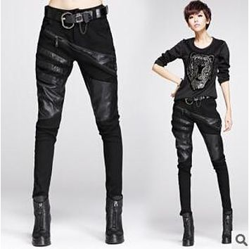 Sexy elastically-stretchable black splicing leather pants and trousers for women