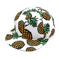 Shensee Neutral Design Pineapple Snapback Bboy Hat Adjustable Baseball Cap Hip-hop Hat (white)