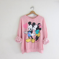 Vintage pink Mickey and Minnie Mouse Sweatshirt / oversized loose fit