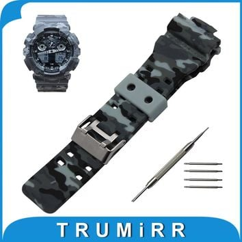 Silicone Rubber Watchband 16 x 29mm for Casio G-shock GA100 GA110 GD120 Convex Watch Band Camo Wrist Strap Steel Buckle Bracelet