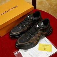 Louis Vuitton LV Classic Popular Men Personality Wave Line Running Sports Shoes Sneaker Black
