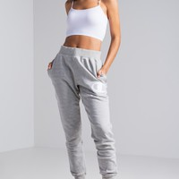 Champion Reverse Weave Big C Stitched Patch Women's Jogger in Oxford Grey, Black