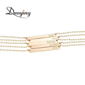 DUOYING Brand Necklace for Women 35*6mm Gold Plated Bar Custom Engraved Name Necklace Personalized Initial Necklace