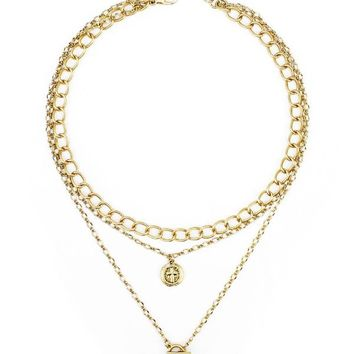 Triple Layer Chain & Coin Necklace
