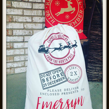 Santa Sack, Christmas Gift Bag, Drawstring Sack , Gift Deliver bag, personalized, Reindeer Mail, Express Delivery, ~~Ready to Ship~~
