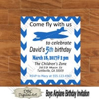 Airplane blue chevron birthday invitation, blue invitations, chevron party invitation, birthday party invitation, kids party invitations