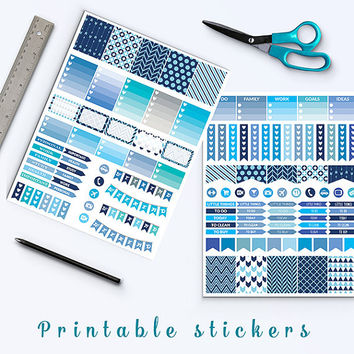50% OFF SALE Printable Planner Stickers Blue Stickers Fits Erin Condren Half Box Stickers Flags Weekend Banners Planner Accessories Download