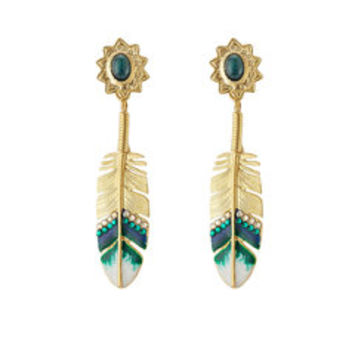 24kt Gold Plated Feather Earrings with Swarovski Crystals - Gas Bijoux | WOMEN | US STYLEBOP.com