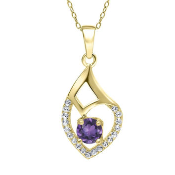 0.64 Ct Round Purple Amethyst 18K Yellow Gold Plated Silver Pendant