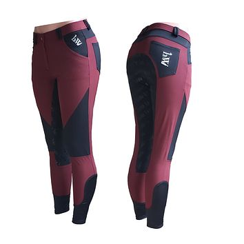 Special Order Full Seat English Riding Breeches - Lightweight Black with Wine