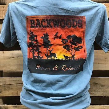 Backwoods Born & Raised Animal Scene Sunset Deer Country Comfort Colors Bright Unisex T Shirt