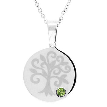 August Peridot Family Tree Pendant In Stainless Steel