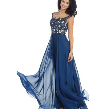 Preorder -  Midnight Blue Lace Bodice Gown 2015 Prom Dresses