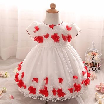 Flowers Newborn Baby Girl Princess 1 Year Birthday Party Dress Toddler Baby Girl Christening Gown Dresses for Infant 0-24 Months