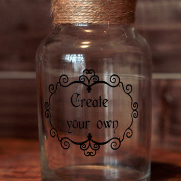 Personalised Tall Single Apothecary themed Glass Spice jar with Glass Stopper