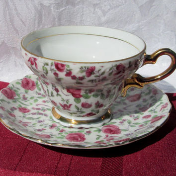 Original NAPCO Pink Rose Chintz Tea Cup & Saucer - Japan
