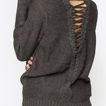 Royale Lace-Up Cutout Sweater