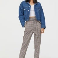 Pull-on Slacks - Beige/blue checked - | H&M US