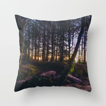 Wooded Tofino Throw Pillow by Mixed Imagery