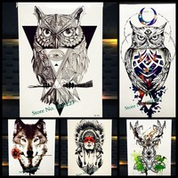 Fashion Owl Temporary Tattoo Women Makeup Tip Body Art Tattoo Arm Sleeve Wall Sticker 21x15CM Large Waterproof Fake Tattoos Owl