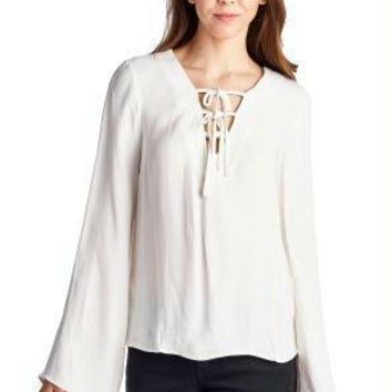 Women's Lace-Up Bell-Sleeve Top
