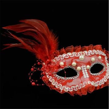 DKF4S Halloween Ball Masquerade Performance Princess Lace Pearl Feather Half Face Mask Female Models Party Masks VDY43 P30