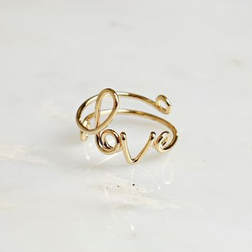 Wire Love Ring Gold