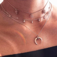 The new fashion multi-layer diamond moon necklace