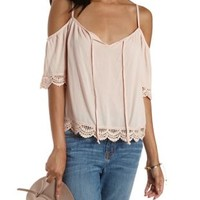 Pale Peach Crochet-Trim Cold Shoulder Top by Charlotte Russe