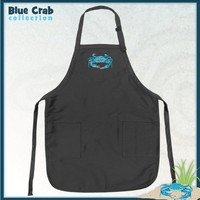 BLUE CRABS Apron Black Blue Crab TOP RATED for Grilling, Barbecue, Kitchen and Cooking Best Unique G