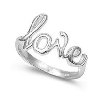 Rhodium Plated Sterling Silver 7mm Love Ring (Size 4 - 10) - Size 4