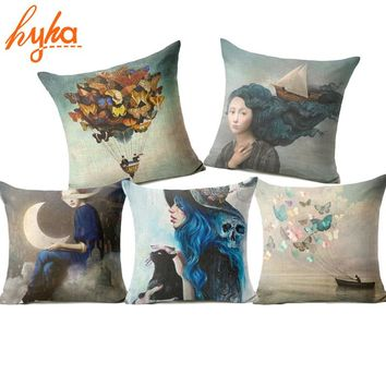 Christian Style Linen Pillow Case Animal Flower Moon Cushion Cover Sailing Mermaid for Sofa Home Decorative Throw Pillow Cover