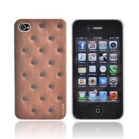 For Apple iPhone 4S 4 Brown Ice Cream Sandwich OEM DCI Flash Rubberized Hard Plastic Shell Case Cover