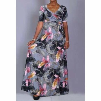 Mixed Feather and Quilt Prints Wrap Maxi Dress with Waist Tie