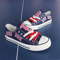 2016 Boston Red Sox Tennis Shoes Fashionable Canvas Sneakers FREE SHIPPING