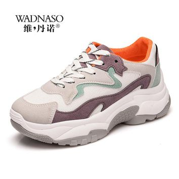 Fashion Sport Casual Shoes Woman Breathable Sneakers For Women Tennis Walking Shoes Flat Platform Women Vulcanize Shoe XZ15