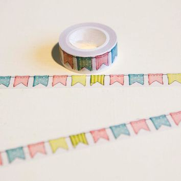 VONC1Y 1.5cm*10m Colour Flag washi tape DIY decoration scrapbooking planner masking tape adhesive tape kawaii stationery