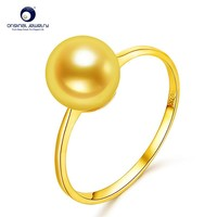 [YS] 18k Gold Wedding Ring 7-7.5mm Natural White Akoya Pearl Ring Simple Design
