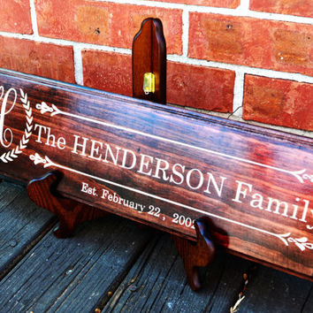 Family Established Name Sign Plaque Personalized Family Sign Carved Engraved Wall Sign wedding or anniversary gift