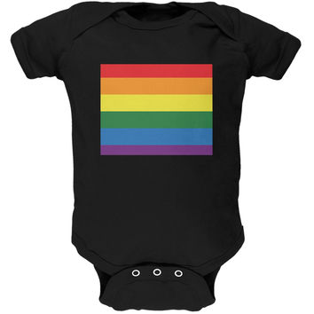 Wyoming LGBT Gay Pride Rainbow Black Soft Baby One Piece