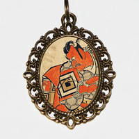 Demon Samurai Necklace, Japanese Woodblock Art, Ukiyo-e, Samurai Jewelry, Edo Period, Oval Pendant